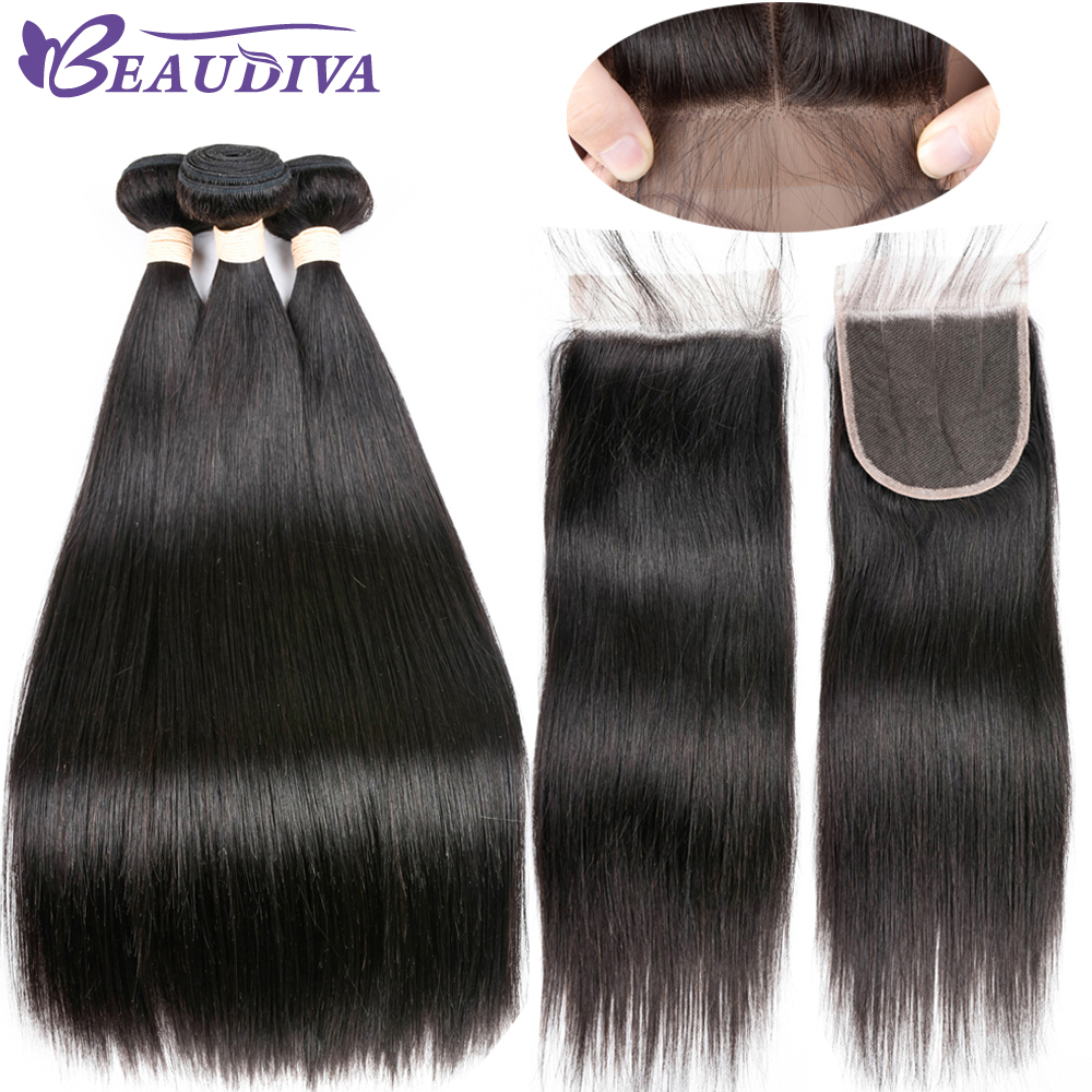 Beaudiva Brazilian Straight Hair 2 3 Bundles With Closure Double Weft Human Hair Weave Bundles With
