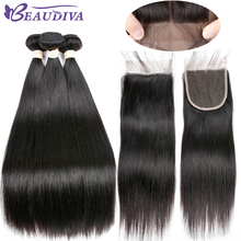 BeauDiva Brazilian Hair Weave Straight Human Hair 3 Bundles With Closure Natural Color Human Hair Extensions With Lace Closure