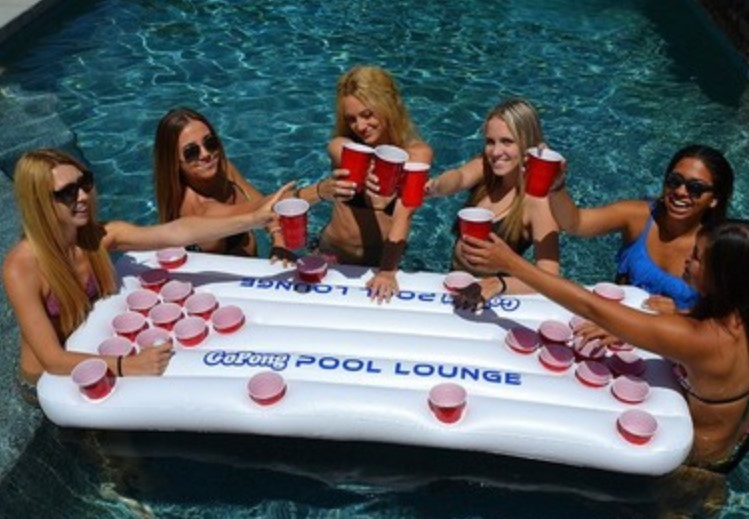 цена Hot sale!Summer Water Party Fun Air Mattress Ice Bucket Cooler 170cm 6inch 28 Cup Holder Inflatable Beer Pong Table Pool Float
