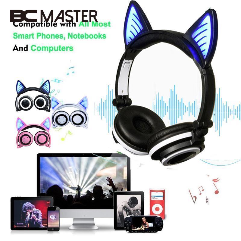 BCMaster 2017 Cat Ear Headphones LED Ear Bluetooth Headphone Wireless Earphone Glowing Headset Gaming Earphones for Adult Kids foldable bear ear recharging headphones panda gaming headset with glowing led light halloweeen gift for girls kids adults phones