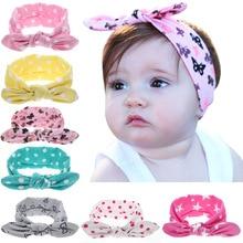 Девушки точка бантом печати цветочные повязка на голову для новорожденного, для младенца аксессуары для волос Дети уши кролика эластичные детские ленты для волос Головные уборы