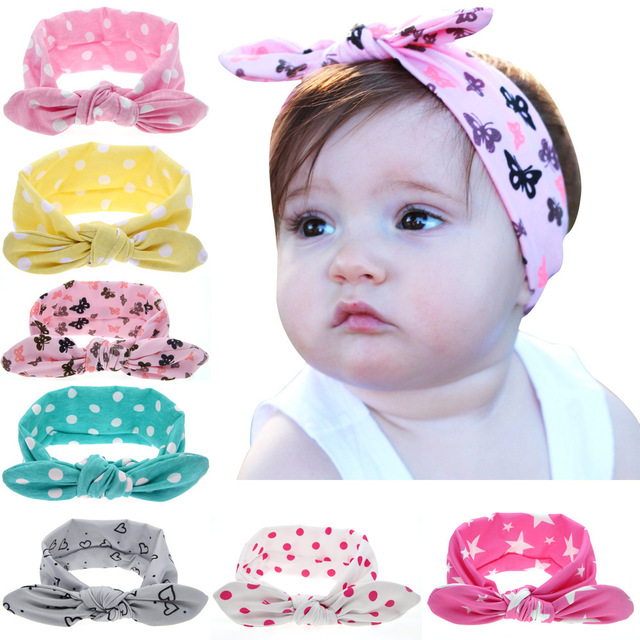 b5e5fe2903d0 Girls Dot Bowknot Print Floral Headbands Newborn Infant Hair Accessories  Children Rabbit Ears Elastic Hair Bands