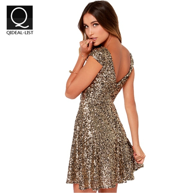 5778e4e37ce9 Qidaeal-L 2017 Summer Casual Dress Gold Sequins Dress Women V Backless Sexy  Dresses Women Clothing New Fashion Vestidos