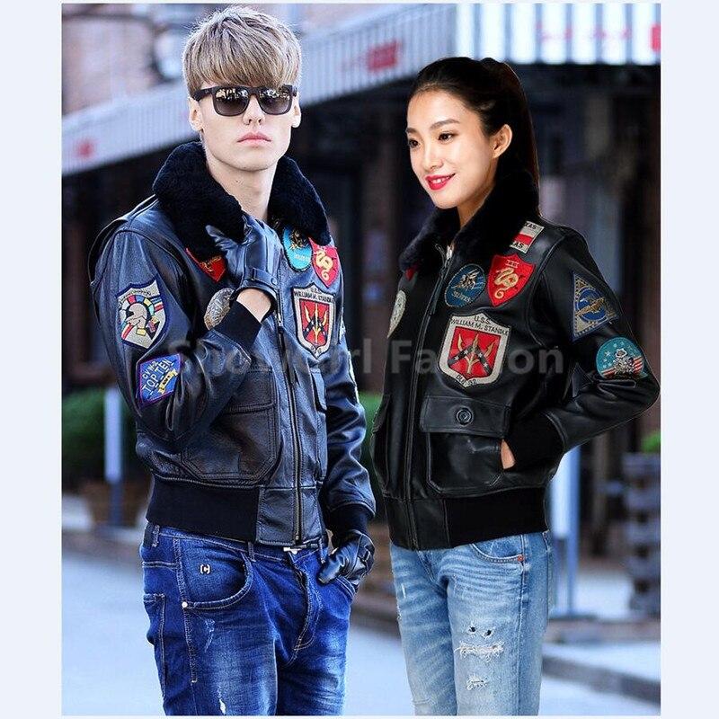 2019 Lovers TOP GUN Բնական կաշվե օդաչու - Տղամարդկանց հագուստ - Լուսանկար 5