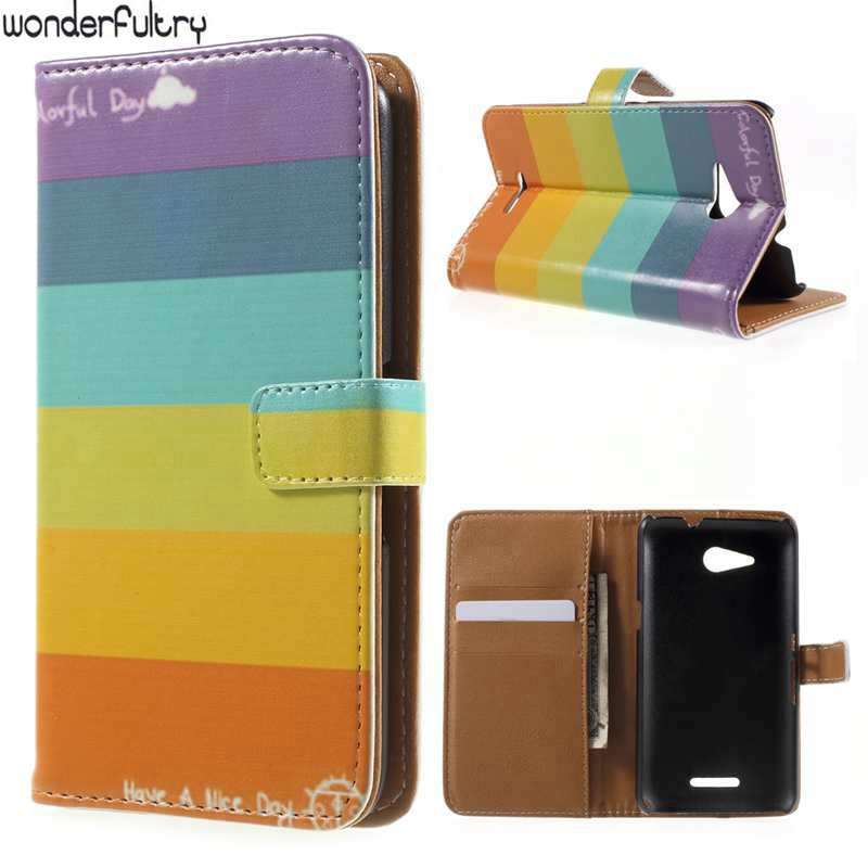 Wonderfultry For Sony E4G Pattern PU Leather Wallet Case E2043 E2006 Dual Sim E2033 E2003 E2053 Mobile Phone Cover For Sony E4G