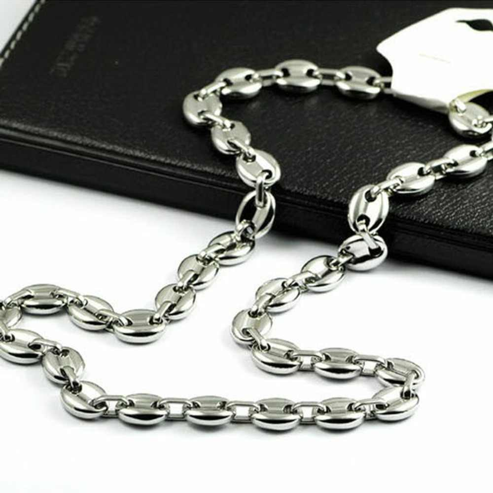 Popular Mens Link Chain Top Stainless Steel 11mm Men's Coffee Bean Chain Necklace Bracelet Silver Mens Womens Necklace 7-40inch