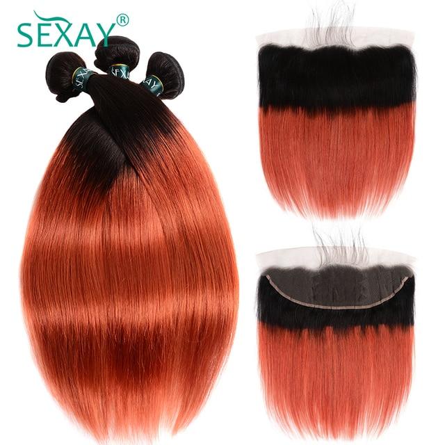 בלונד חבילות עם פרונטאלית SEXAY Ombre 1B/350 כתום בלונדינית בצבע שיער טבעי חבילות עם סגרים ללא רמי שיער