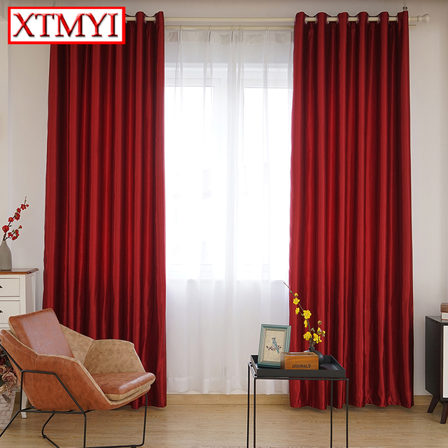 Blackout Curtains For The Bedroom Solid Colors Curtains For The Living Room  Window Brown Red Curtains