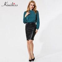Kinikissผู้หญิงสำนักงานเสื้อ11.11ทั่วโลกเทศกาลช้อปปิ้งธรรมดาเต็มแขนตรงจีบ