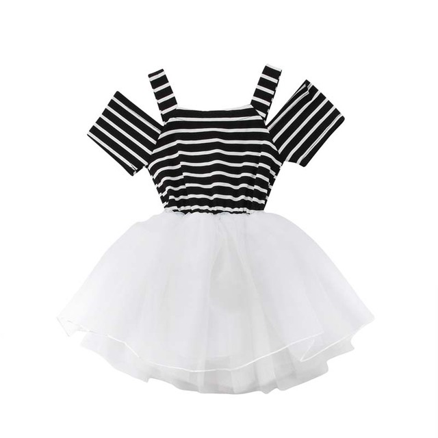Toddler Baby Girls Princess Off Shoulder Dress Pageant Party Wedding Tutu  Dressy Baby Formal Striped Clothes c4603f22bf5e