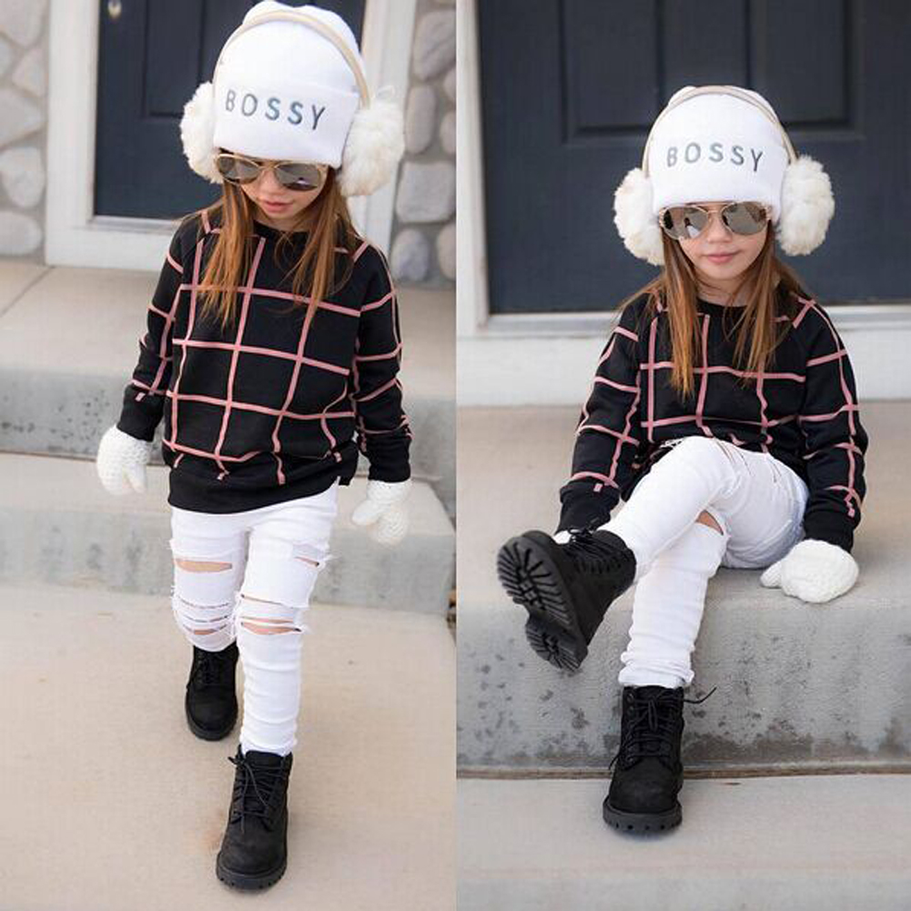 Children Clothing Set Kids Girls Outfits Long Sleeve Plaid Tops Denim Pants Jeans Fashion Clothes Set Spring Autumn Winter Suits kids girls clothes sets 8 10 12years children clothing boys set autumn set outfits 2017 spring suit letters denim jacket jeans