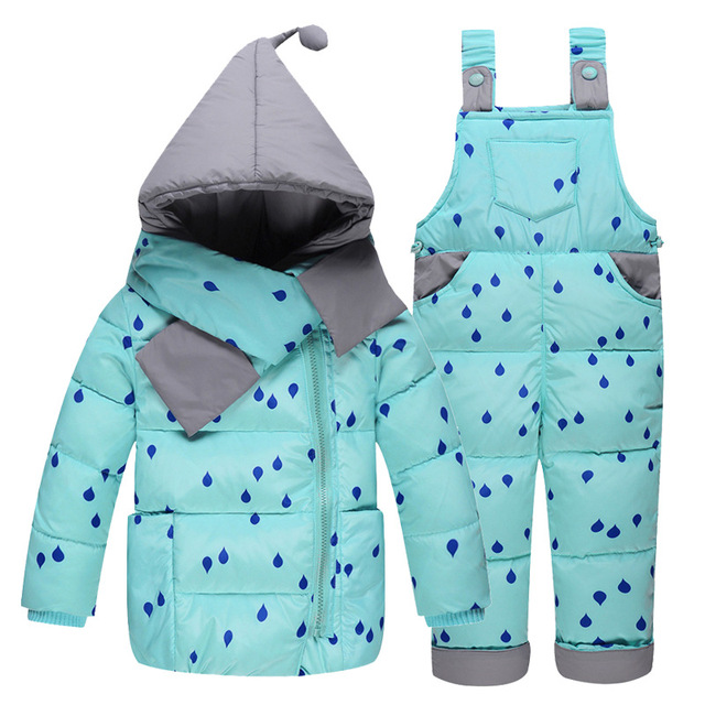 New children clothing set thicken down feather coat kid down outerwear winter children overalls parkas freezing outdoor clothing