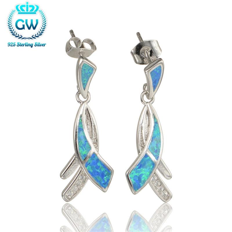 Best Friend Gift 925 Sterling Silver Opal Long Earrings With Stones Hot Sale Brand Gw Jewellery Fe344 90