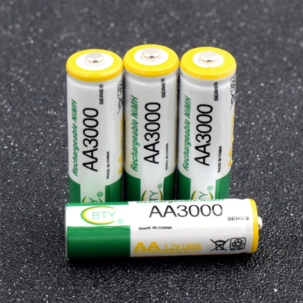 AA Rechargeable Battery Great Power High Density AA 3000mAh Rechargeable Batteries AA LR6 HR6 KAA Ni-MH Cells rechargeable 1 2v 3800mah aa ni mh batteries pair