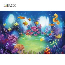 Laeacco Baby Cartoon Fish Window Coral Bubble Underwater Ocean Birthday Photo Backgrounds Photography Backdrops For Studio