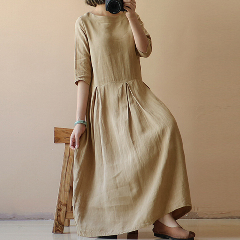 41cd45e42cf Occasion  Casual Season  Summer Product Description  Womens Round Neck Half  Sleeve Casual Loose Long Dress Package Included  1 Dress