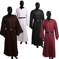 Adult Men Medieval Robe Wicca Pagan Ritual Robe Cloak Clergy Cassock With Belt Cosplay Costume