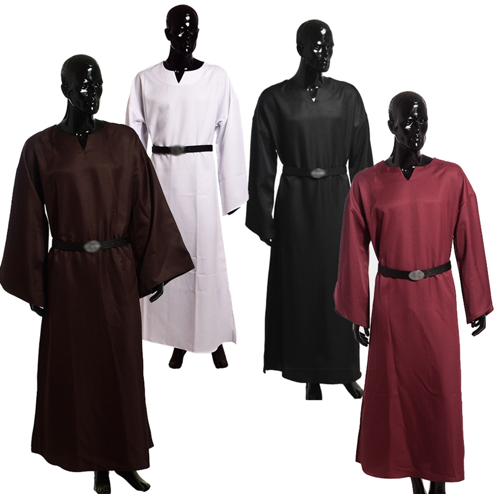 Adult Men Priest Costume Medieval Robe Wicca Pagan Ritual Robe Cloak Clergy Cassock With Belt Cosplay