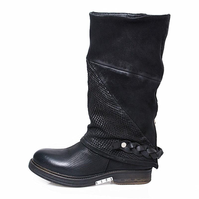 Goma Británico Negro Velvet brown Botas Becerro Genuino Prova Mujer Planos black Perfetto Lining Lining De Las Zapatos Piel Plataforma Mujeres marrón Cuero Marrón xZHwa