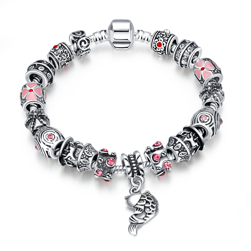 Pandor Bracelet Silver 925 Original Charms Vintage Wind Mysterious Pattern Ladies Bracelet Crystal Beads Flower Pattern Jewelry