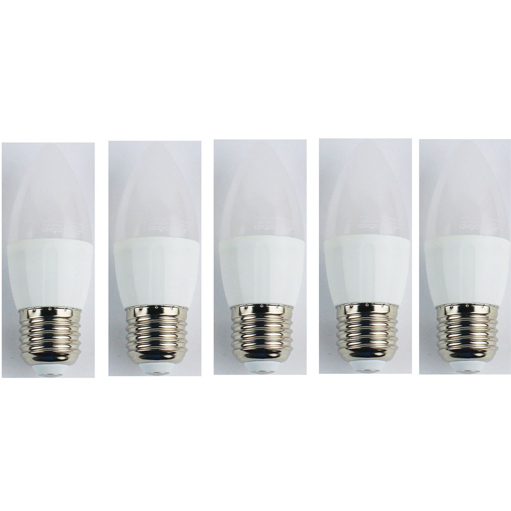 LightMe 5PCS 3W E27 LED Candle Light Bulb C37 5 Leds SMD 3528 Warm White 225lm 3000K AC 110-240V 25000 Hours Life LED Bulb