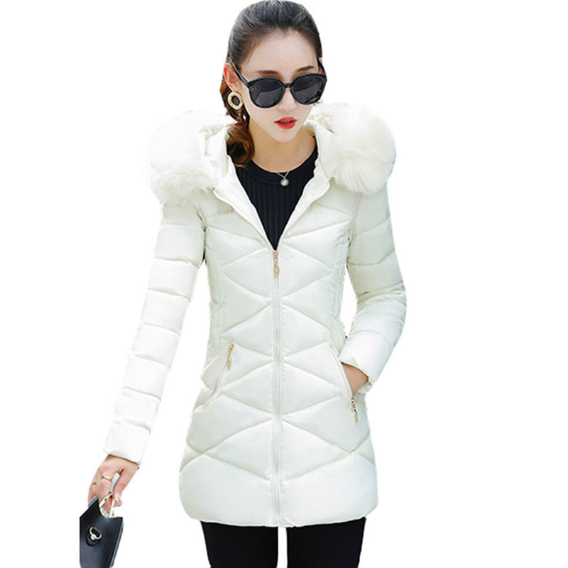 Women's Cotton Jacket 2017 New Large Fur Collar Female Long Hooded Parkas Snow Wear Winter Outwear Female Jacket Coats RE0034 snow wear 2017 high quality winter women jacket cotton coats fur collar hooded parkas fashion long thick femme outwear cm1346
