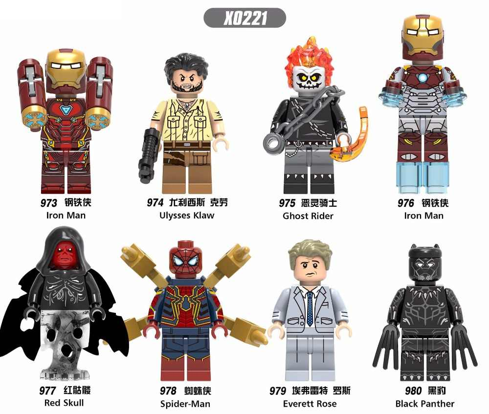 X0221 charactering Marvel Super hero Avengersing ferro Maning Ghost Rider Spidermaning Modelo building block compatível Legoingtoy