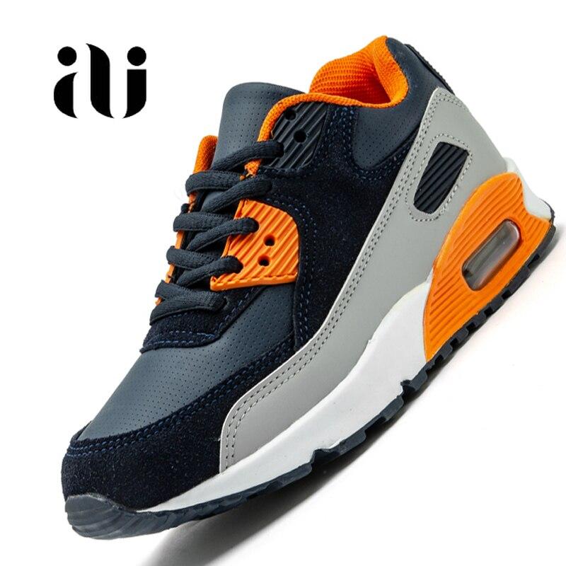 Новые детские повседневная обувь из кожи; обувь для бега для девочек кроссовки на воздушной подушке демпфирования мальчиков кроссовки, мягкая подошва; детская спортивная обувь-in Кроссовки from Мать и ребенок