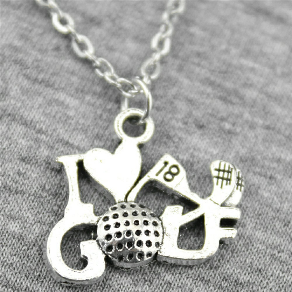 WYSIWYG 17x22mm I Love Golf Pendant Necklace Gift For Women