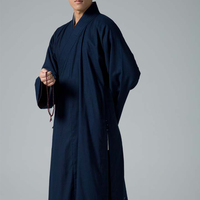 Dark cotton and linen blue Zen Robe Meditation Gown Monk Training Uniform Suit lay Buddhist clothes set Chinese shaolin clothing