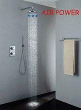 цены Thermostat Shower Faucet Valve Air Drop Rainfall Shower Head Chrome Rainfall Bathroom Bath & Shower Faucets