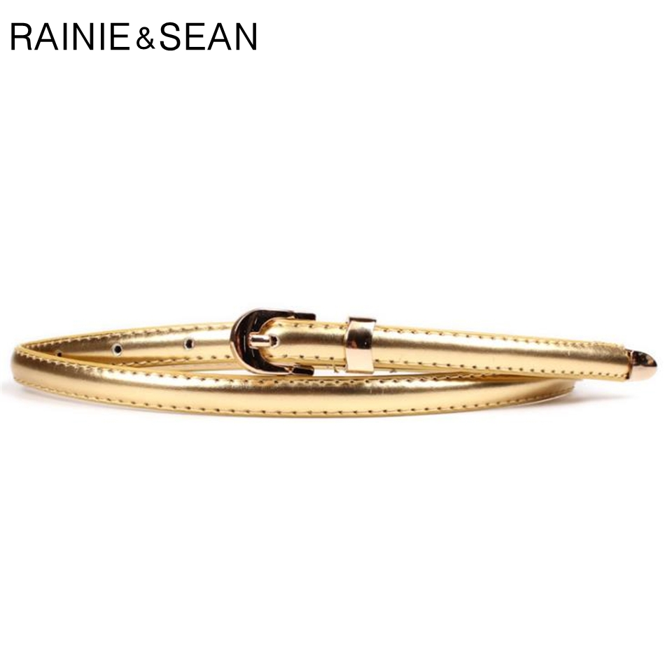 RAINIE SEAN Gold Thin Ladies Leather Belt Women Pin Buckle For Belt Korean Fashion Casual Solid Female Waist Belt For Dresses