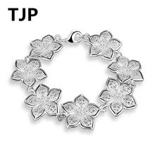 TJP Fashion 925 Sterling Silver Bracelets Women Party Girl Birthday Gift Flower Shaped Female Armband  Accessories Drop Shipping