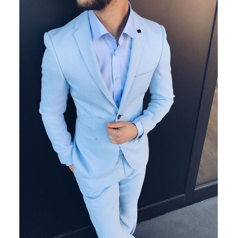TPSAADE Slim Fit 2 Pieces Men's Leisure Suits 2019 Jacket Pant Vest Notched Lapel One Button Trim Fit Wedding Groom Tuxedos(China)