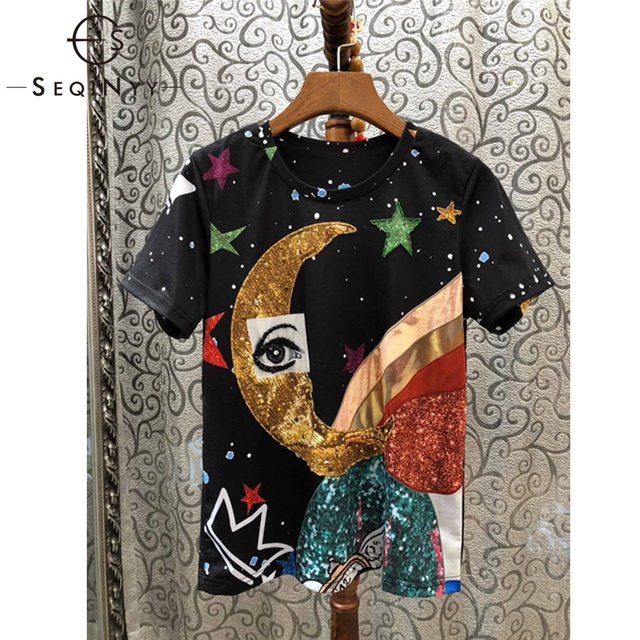 SEQINYY T Shirt Women 2019 Summer New Fashion High Quality Beading Crystal Eye Moon Star Printed Black Cotton Top