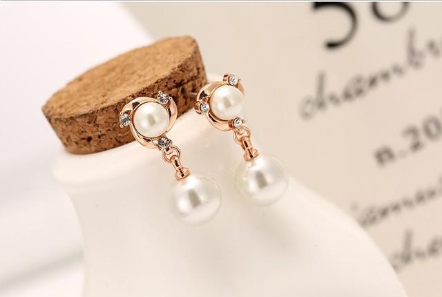 New Personality Crystal Earrings High Quality Wild Rhinestones Imitation Pearl Earrings For Women Stud Earrings Boucle D'oreille