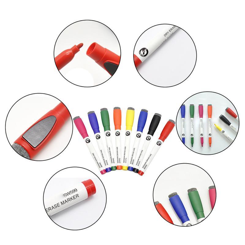 8 stks Kleurrijke Whiteboard Pen Magnetische Pen Met Borstel Studenten Kinderen Uitwisbare 8-kleur Set Tekentafel Pen Briefpapier