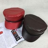 2015 Hot Sale Fashion Black Flat Hat British Style PU Leather General Hats Women Faux Leather