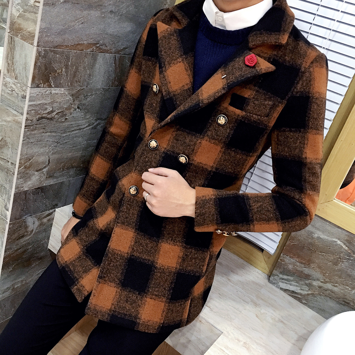 Double Breasted Plaid Coat Slim Fit Mid Long Trench Mens Woolen Pea Coat Manteau Homme Hiver Solid Check Designer Coat