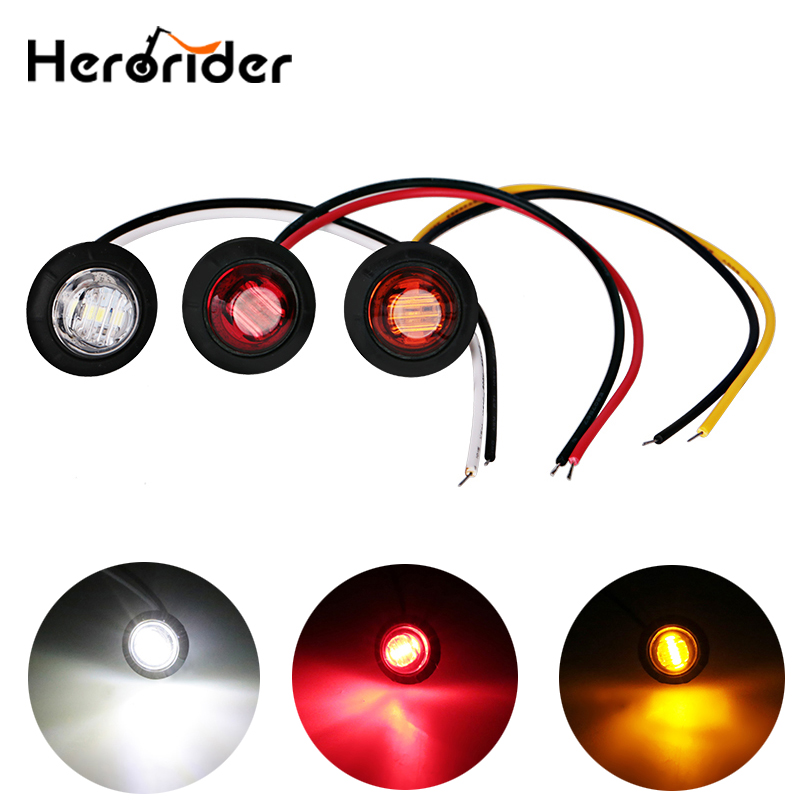 2 pcs12V Mini Round LED Side Marker Turn Signal Light Clearance Indicator Bezel Lamp Truck Trailer Caravan lights cyan soil bay truck trailer side fender marker clearance light chrome bezel 3 led dc 10 30v red