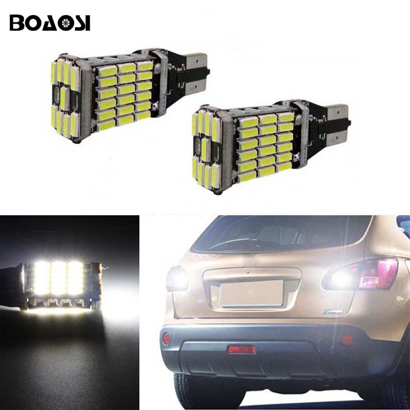 BOAOSI 2x Canbus Error Free T15 W16W 921 Car LED Lights Backup Reverse Tail Bulb for Nissan Juke 2011-2015 1000lm t15 led canbus obc error free bulbs t15 led wedge bulb reverse lights 921 912 w16w led canbus stop car lamp white d030