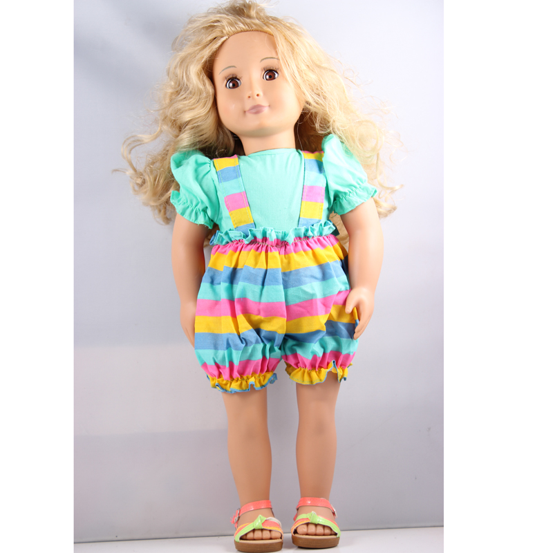 long wave brown 18inch American girl doll +blue sun flower shoulder tape clothes +sandal shoes birthday Christmas gift AGD08