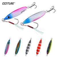 Goture New 5pcs 40g 60g Metal Jig Spoon Lure Wobbers Casting Jigging Lead Fish Sea Bass Fishing Lure Artificial Hard Bait