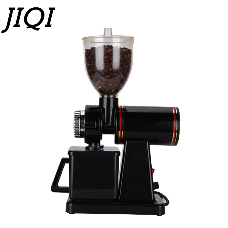 JIQI 110V/220V Automatic electric coffee grinder machine coffee Burr Mill  Storage Capacity (250g)  coffee mill-in Electric Coffee Grinders from Home Appliances    1