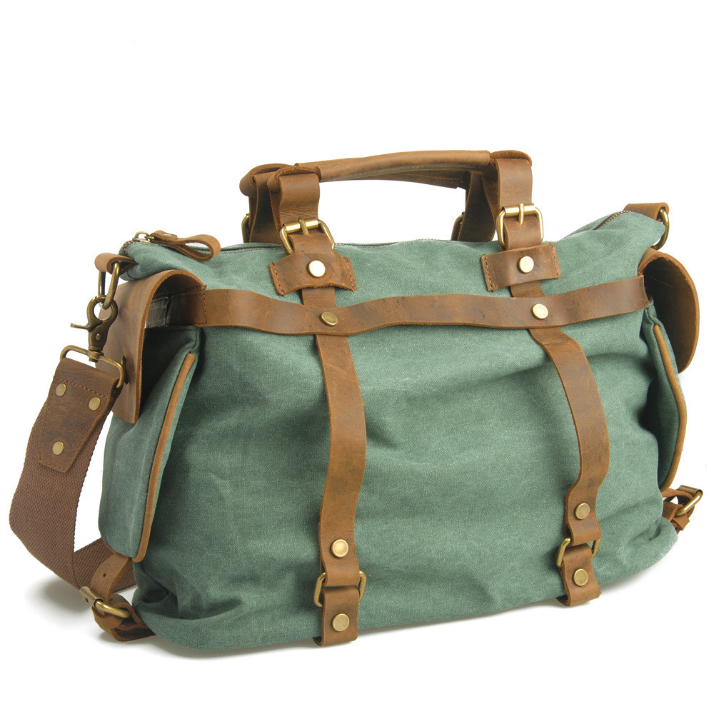 Canvas Leather Men Travel Bags Carry On Luggage Bags Men Duffel Bags Travel Tote
