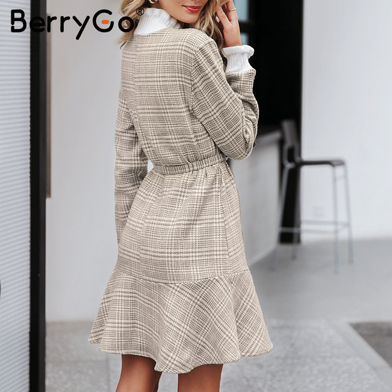 Image 4 - BerryGo Winter plaid mini dresses women Turtle neck tweed short dress female Vintage ruffle sash autumn office ladies vestidosDresses   -