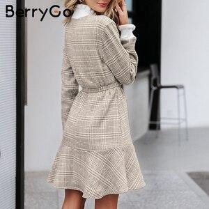 Image 4 - BerryGo Winter plaid mini dresses women Turtle neck tweed short dress female Vintage ruffle sash autumn office ladies vestidos