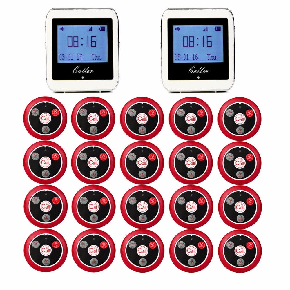 20pcs Call Transmitter Button+2 Watch Receiver 433MHz 999CH Restaurant Pager Wireless Calling System Catering Equipment F3285 wireless call system vibrating watch pagers call button restaurant bell 433 92mhz restaurant full set 1 watch 10 call button