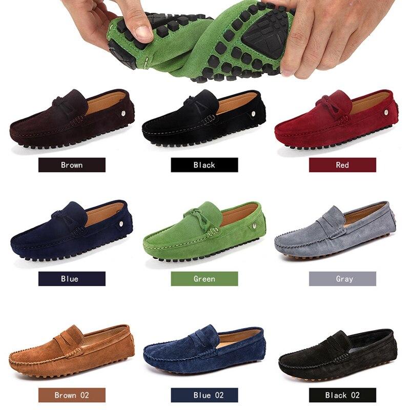 Image 2 - Loveontop 2019 جديد حذاء رجالي الأخفاف أحذية من الجلد الرجال البني الانزلاق على أحذية قيادة الأخفاف للرجل الراحة-في أحذية رجالية عادية من أحذية على AliExpress