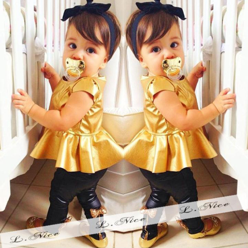 2016 summer kids girls clothes Fashion toddler girl children clothing sets Gold Short Sleeve Skirt + Pants Baby Girl Clothes